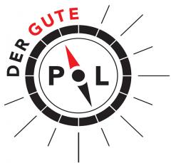 """Logo des Guten Pols- ein Kompass steht auf """"gut"""""""
